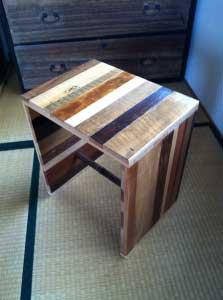 こちらはPCデスク用に製作した、ワイドタイプ。 Wider sheet stool