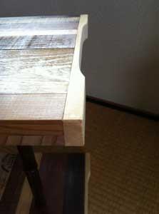 足下のおさまり Detail of stool lower end